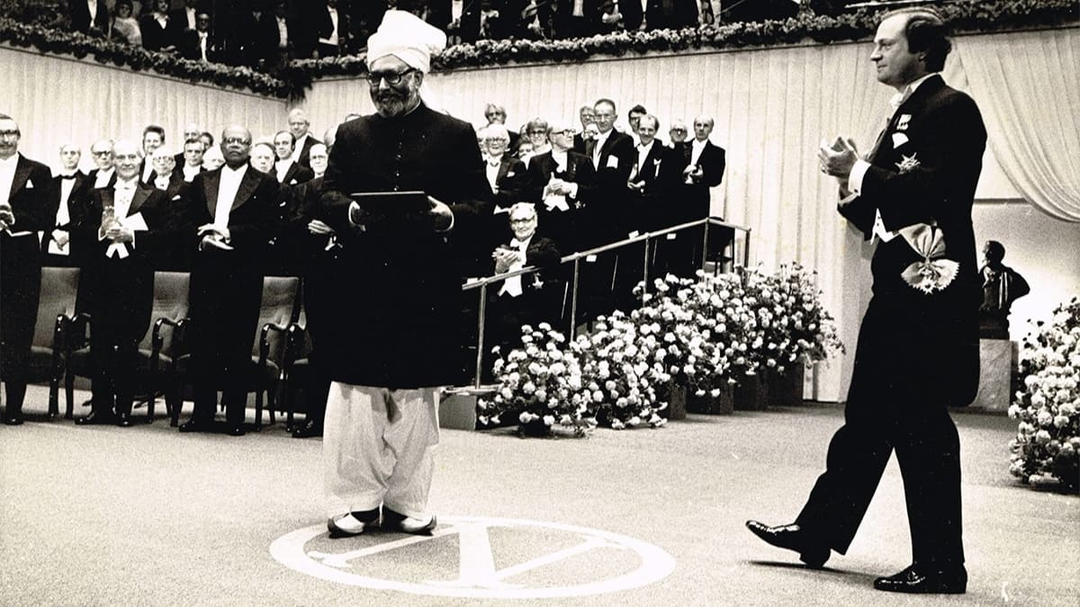 Dr Salam accepting his Nobel Prize