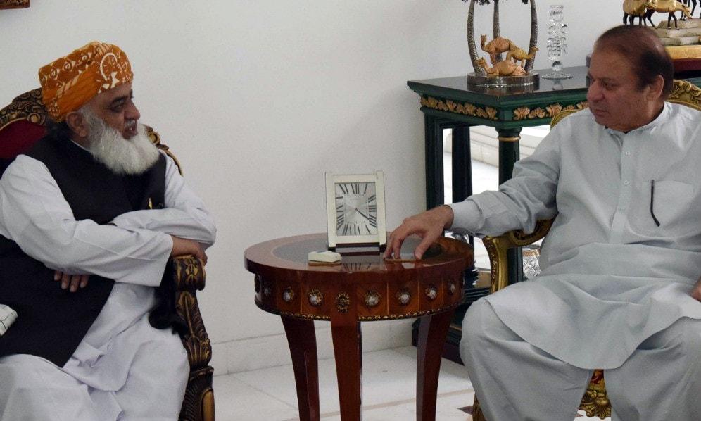 JUI-F chief Maulana Fazlur Rehman pays a condolence visit to Nawaz Sharif.