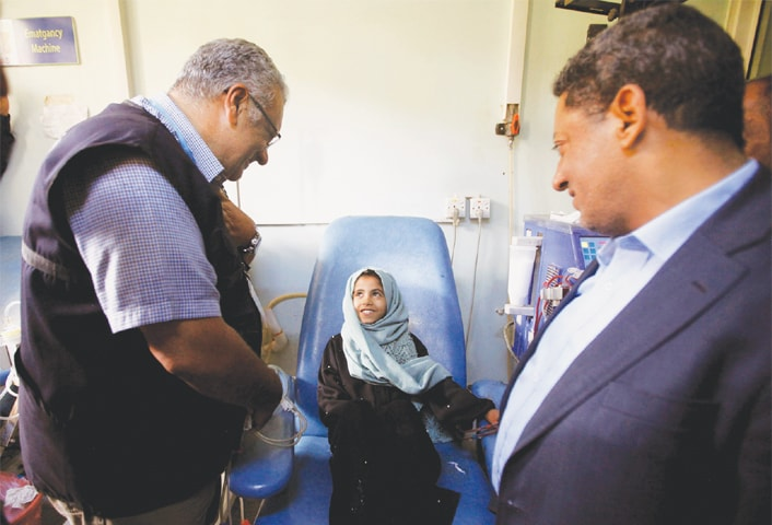 Sanaa: Dr Nevio Zagaria, the WHO representative in Yemen, visits a haemodialysis centre on Thursday.—Reuters