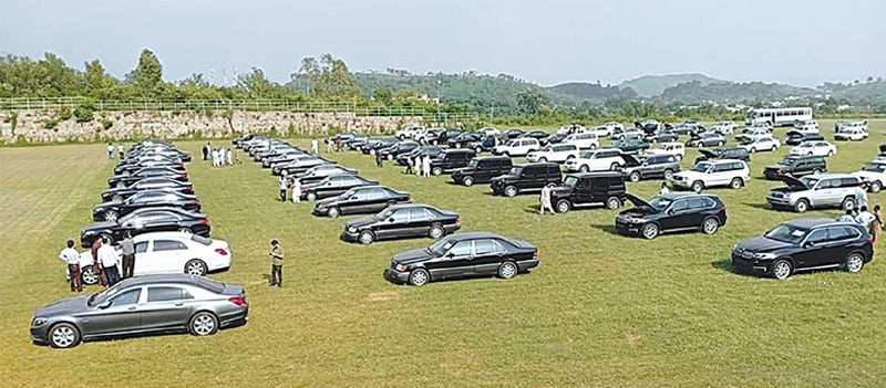ISLAMABAD: Luxury vehicles are parked on the premises of the Prime Minister House for inspection by people before their auction on Sunday. As part of the austerity measures announced by Prime Minister Imran Khan, the government placed advertisements in the newspapers last week, offering 102 luxury cars and jeeps, including bulletproof vehicles, for public auction. These vehicles can also be inspected by the public today (Friday).—Online