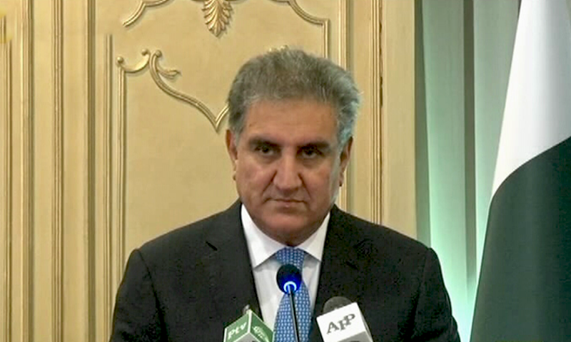 FM Qureshi addresses a joint presser in Islamabad — DawnNewsTV
