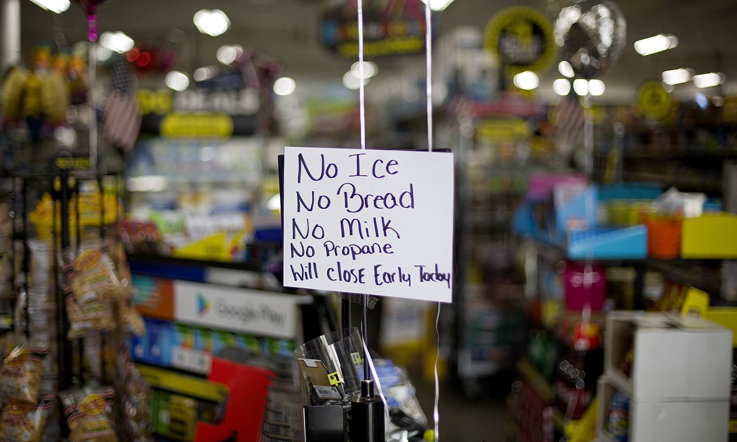 A message greets shoppers of supplies no longer available as Hurricane Florence approaches the East Coast. —AP