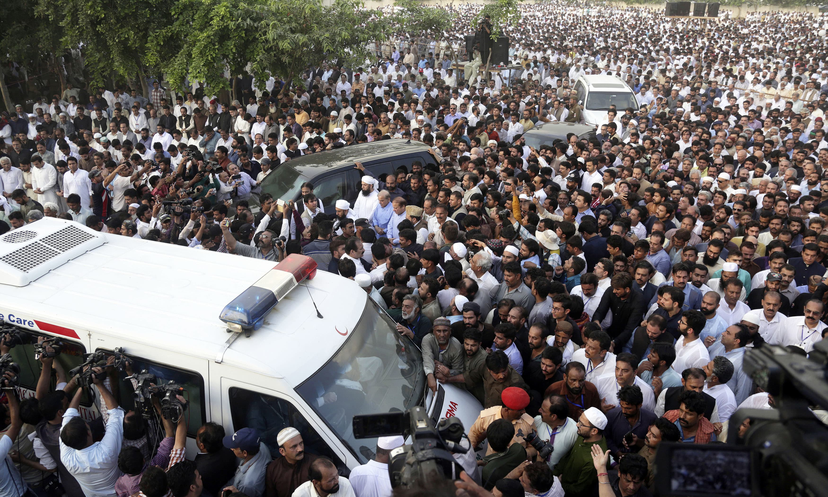 People attend funeral of Kulsoom Nawaz in Lahore. —AP