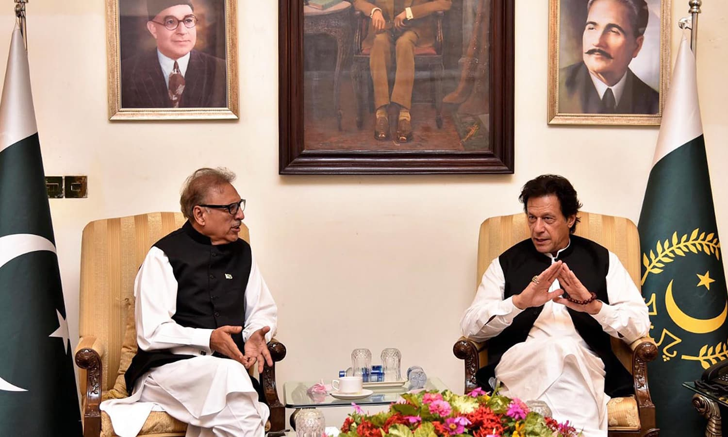 Prime Minister Imran Khan in a meeting with President Dr Arif Alvi. —APP