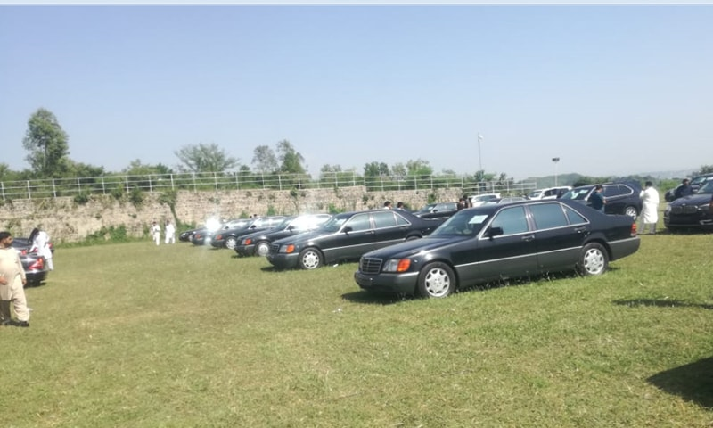 The auction of PM House's luxury vehicles is underway. ─ Photo by Inamullah Khattak