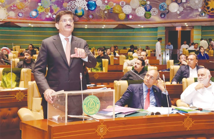 Sindh Chief Minister Syed Murad Ali Shah delivers his budget speech in the Sindh Assembly on Monday.—PPI