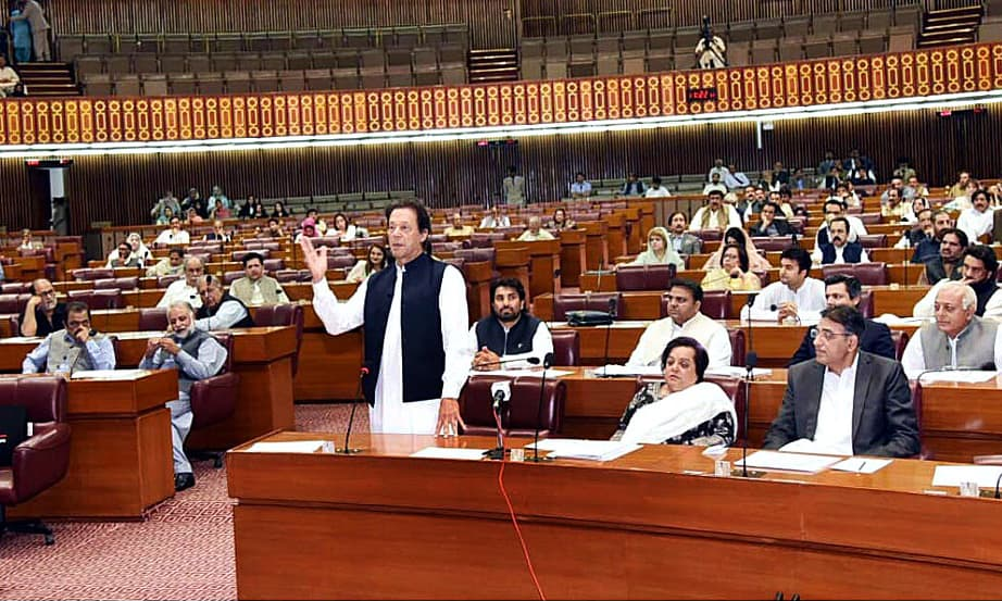 Prime Minister Imran Khan speaking in National Assembly. —APP