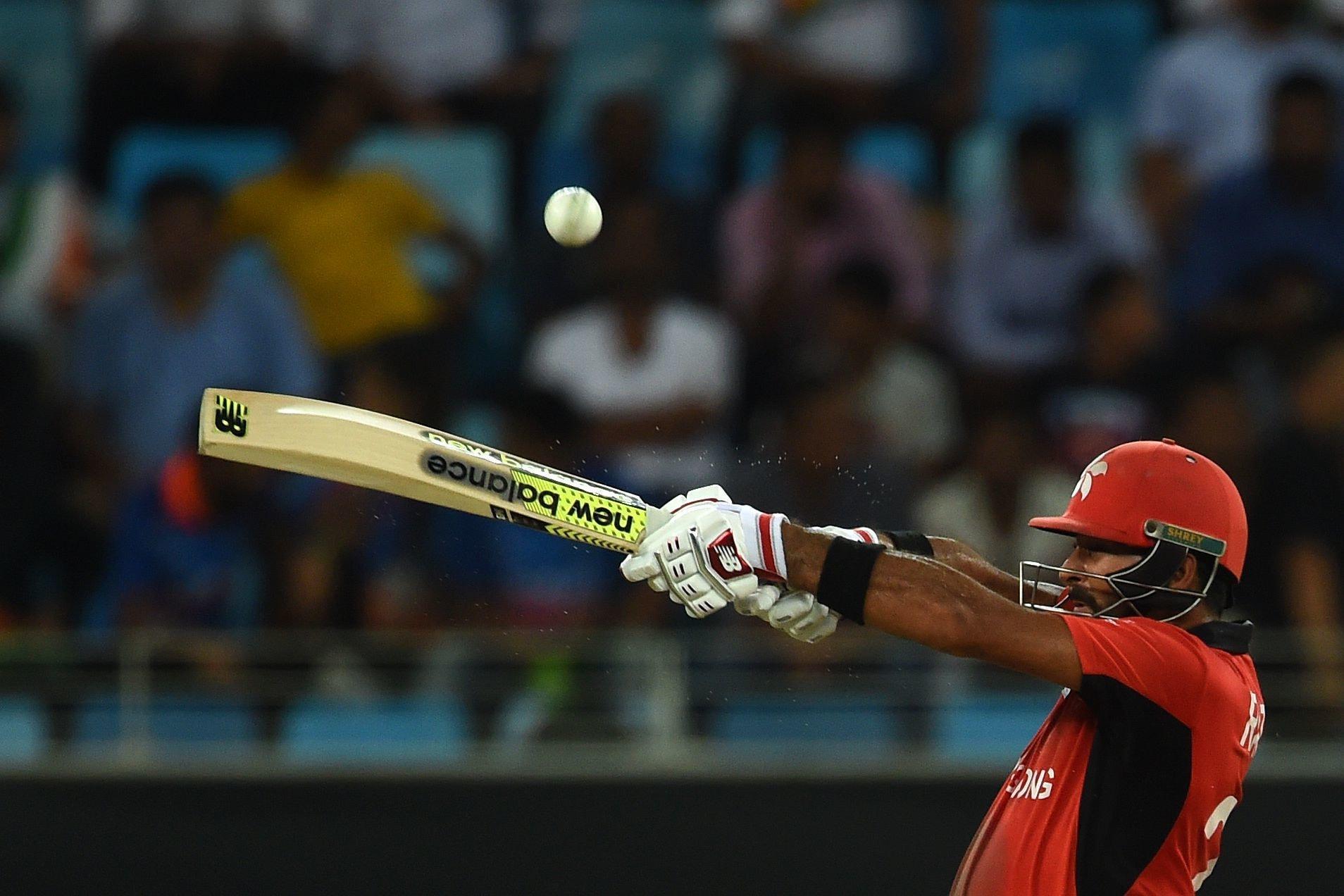 Hong Kong's team captain Anshuman Rath plays a shot during the one day international (ODI) Asia Cup cricket match between Hong Kong and India at the Dubai International Cricket Stadium. —AFP