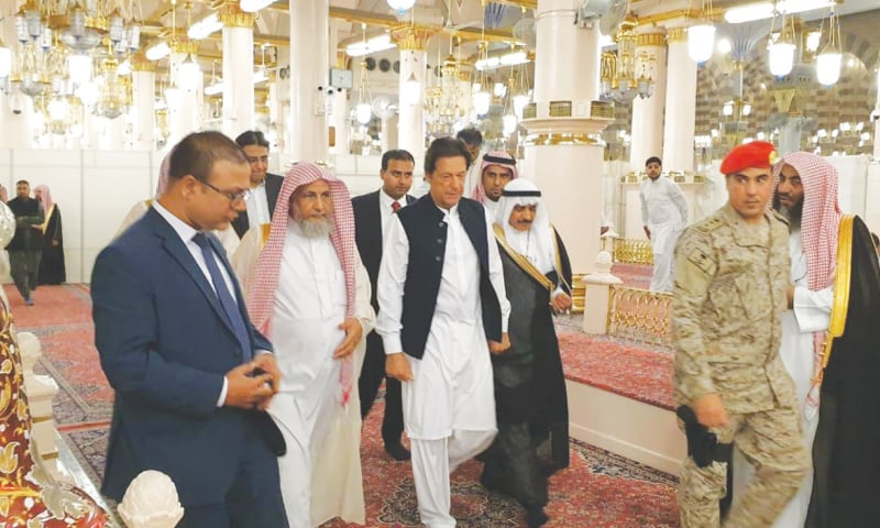 MADINA: Prime Minister Imran Khan pictured during his first foreign visit to Saudi Arabia after assuming office.—Online