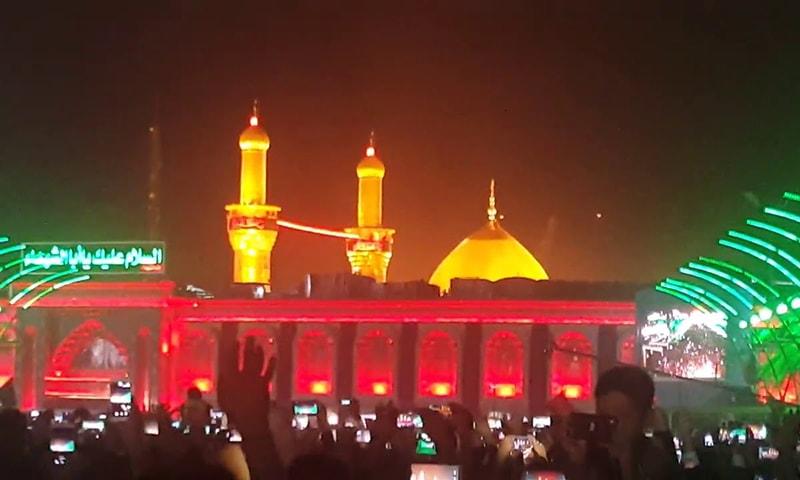 حضرت امام حسین کے روضے کا فاصلے سے منظر