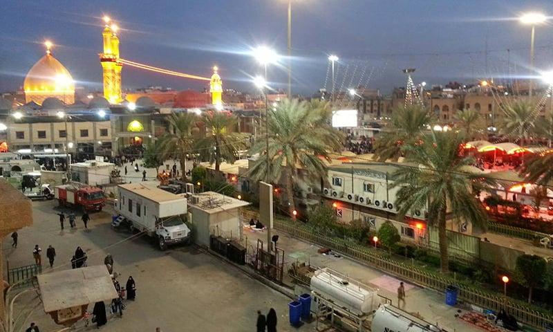 حضرت عباس علمدار کے روضے کا گنبد اور مینار