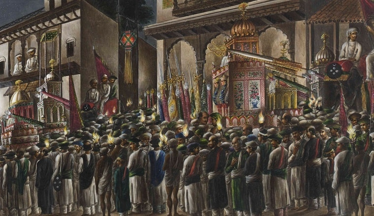 Watercolour of the Muharram Festival, part of the Hyde collection, by an unknown artist working in the Murshidabad style, c. 1795. Inscribed on the back in pencil: 'The Nubob of Moorshedd.- at Prayers'; in ink: 'The Nawaub of Morshedabad at Prayers, a Night Scene.—Columbia.edu
