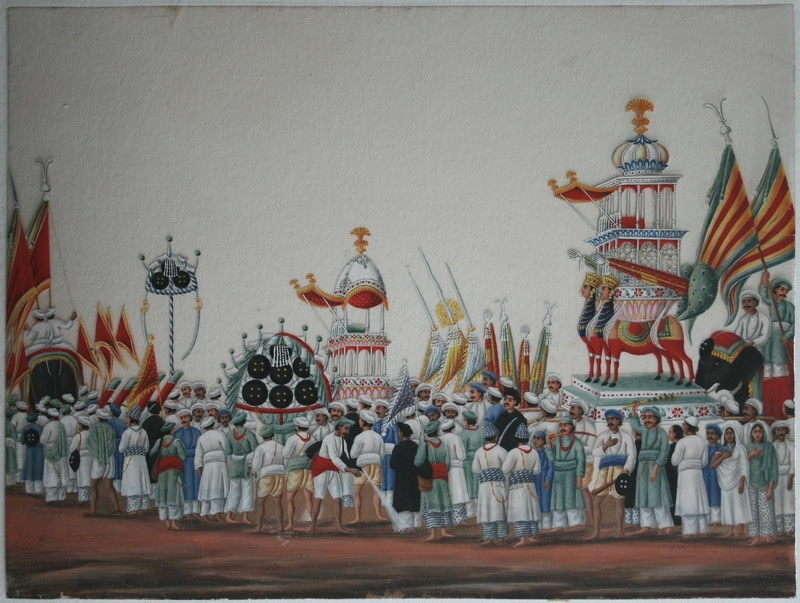 Muharram festival procession. Anglo-Indian (a.k.a. 'Company School') at Patna, c. mid-19th century. Opaque watercolour on mica. Attributed to Shiva Lal or his workshop.—swarajarchive.org.in