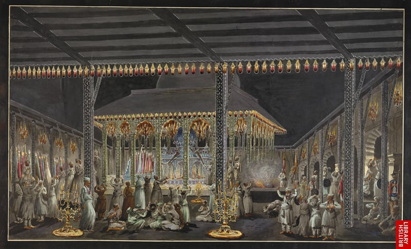 """Scene in the Imambarah during Muharram"", a watercolor, Patna, c.1790-1800.—British Library"
