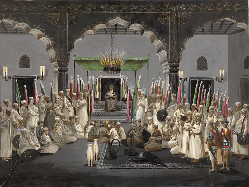 """The Muharram Festival"". Asaf al-Daula, Nawab of Oudh, listening at night to the maulvi reading from the scriptures. Late 1700s.—British Library"