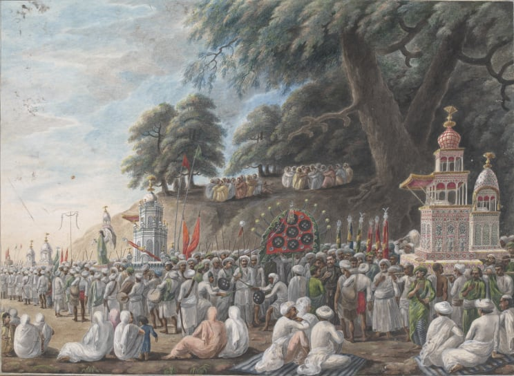 "Sewak Ram, ""A Muharram Scene"", Patna, India c1807. One of the few paintings with an attribution, it is said to have been painted by Sewak Ram, a Hindu painter.—Victoria and Albert Museum"