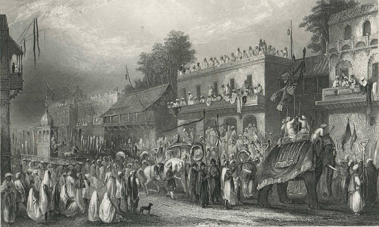 """Festival of the Moharram, Funeral of Houssein and Hoossein, India,"" by H. Melville, Fisher, Son, & Co., London, c.1840.—Columbia.edu"