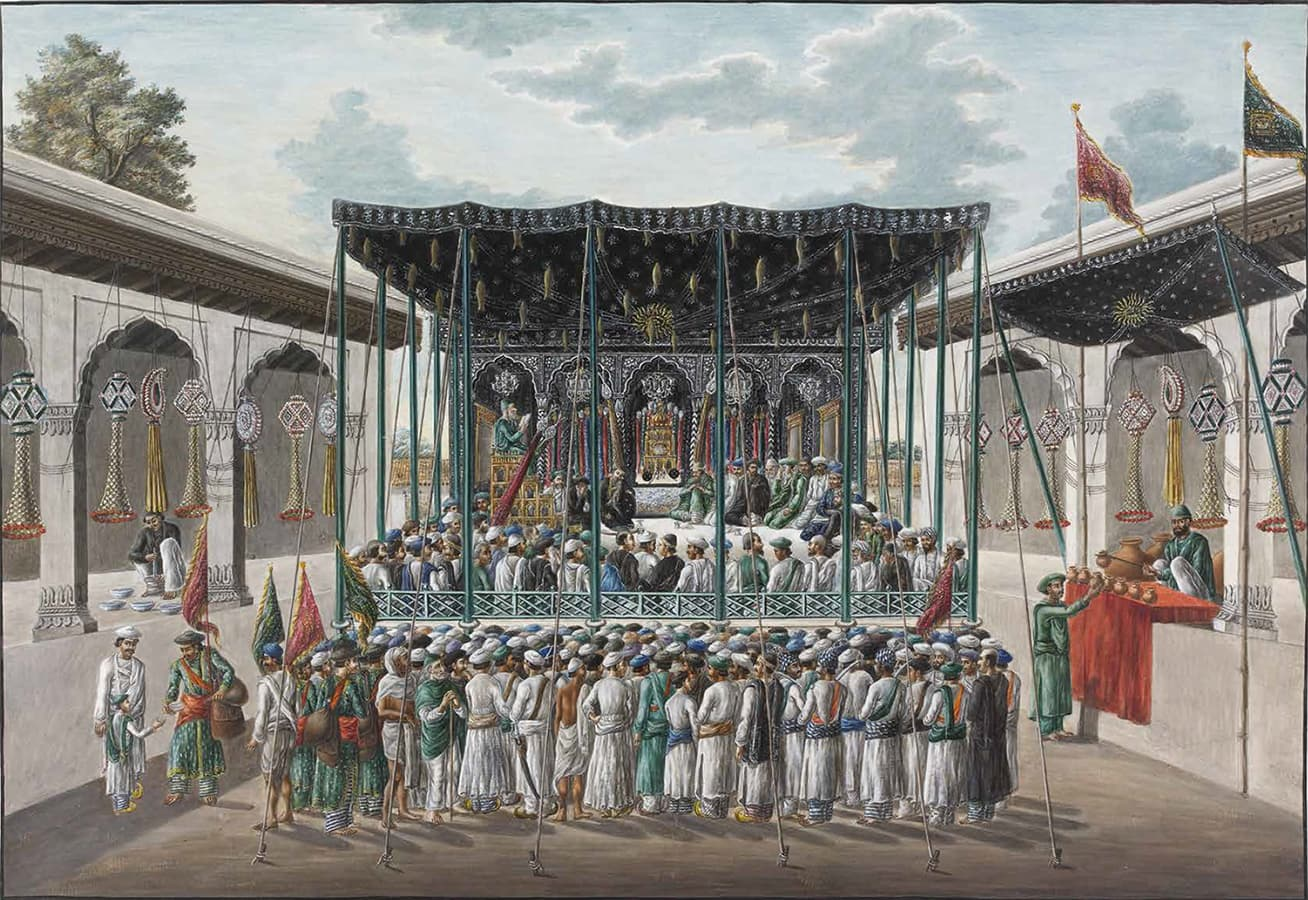 """Prayers and recitations at the Imambara during the Muharram"", Patna, 1820–30.—www.francescagalloway.com"