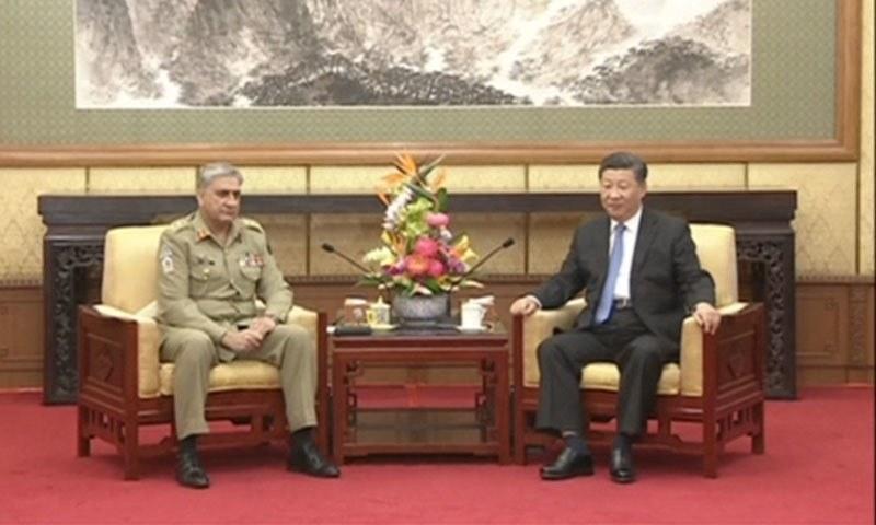 Chief of Army Staff (COAS) General Qamar Bajwa in a meeting with the President of China Xi Jinping. —DawnNewsTV