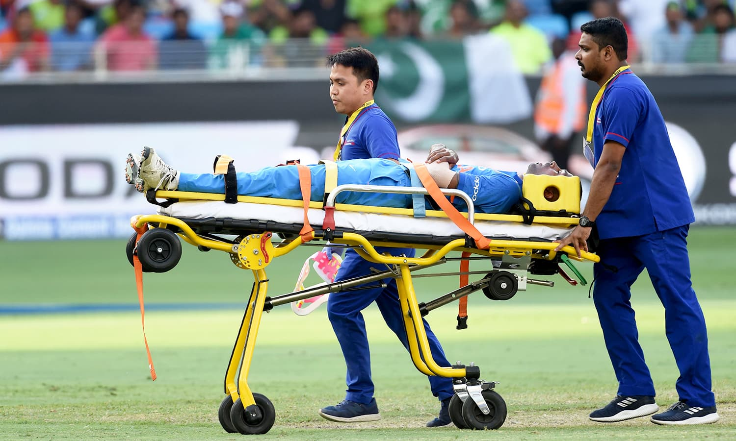 Indian cricketer Hardik Pandya is transported with an injury. — AFP