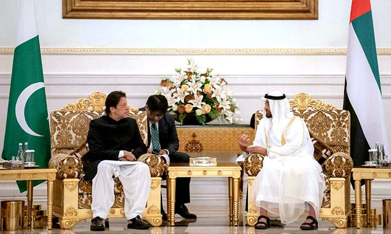 ABU DHABI: Prime Minister Imran Khan meets Crown Prince of Abu Dhabi and and Deputy Supreme Commander of UAE's Armed Forces Sheikh Mohammed Bin Zayed Al Nahyan here on Wednesday after completing his two-day visit to Saudi Arabia.—APP