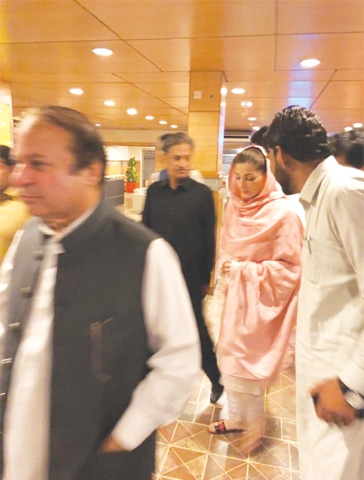 PML-N supremo Nawaz Sharif and Maryam Nawaz pictured at the airport after their release from jail.
