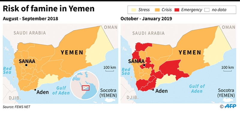 A map shows areas in risk of famine in Yemen.— AFP