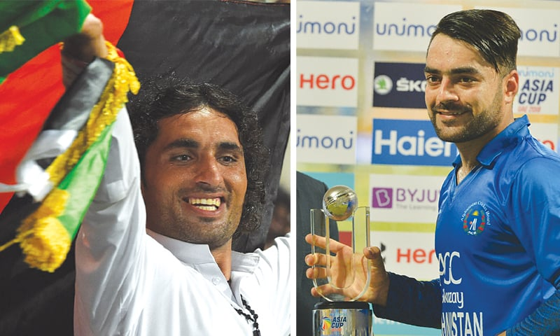 ABU DHABI: (Left) An Afghan fan waves the national flag of his country as he cheers in support of Afghanistan's team during the one-day international Asia Cup match against Bangladesh on Thursday. (Right) Afghan cricketer Rashid Khan poses with his award of 'Player of the Match' after the victory.—AFP