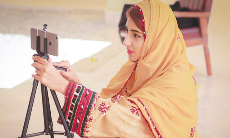 ANITA Jalil Baloch shoots a video for her YouTube channel that has over 18,000 subscribers.—Photo by writer