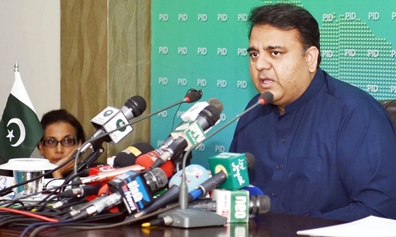 FEDERAL Minister for Information and Broadcasting Fawad Chaudhry addressing a press conference on Thursday.—Online