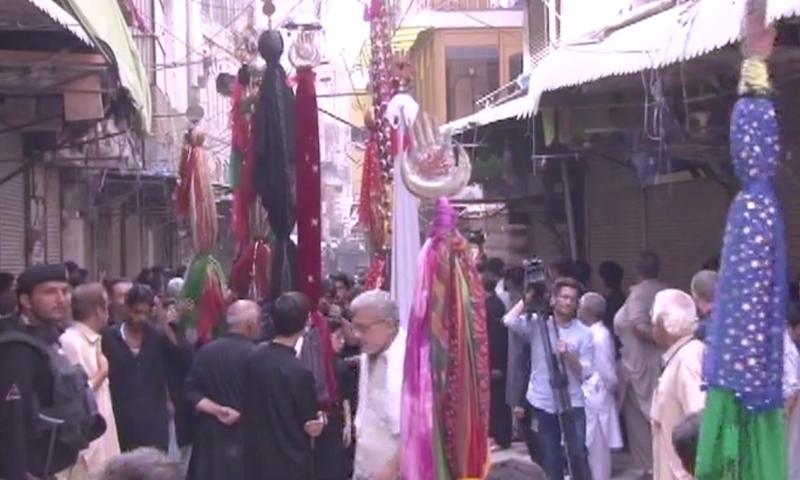 The scene of an Ashura procession in Peshawar. — DawnNewsTV