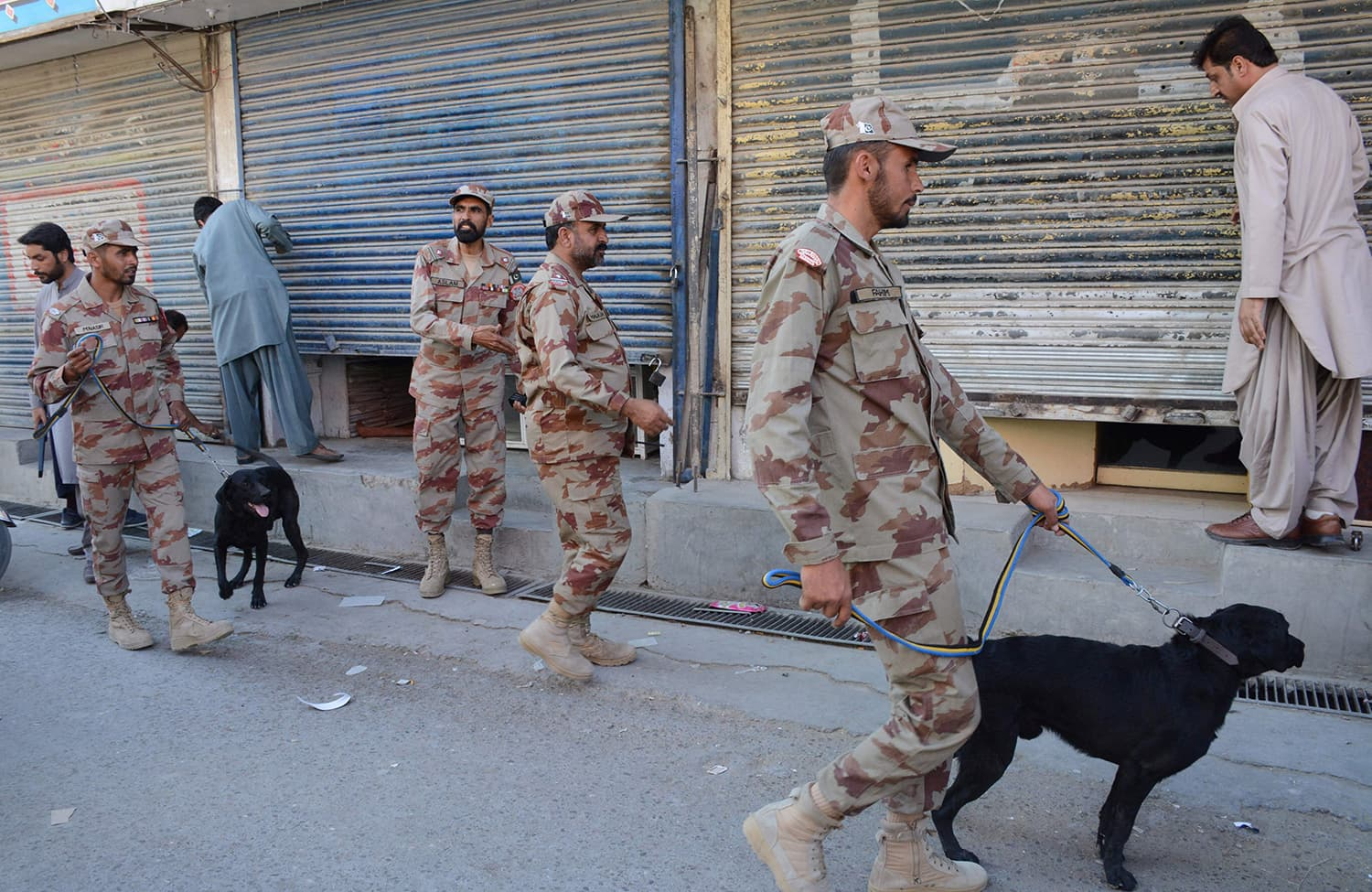 Rangers patrol with sniffing dogs ahead of a procession in Quetta. —AFP