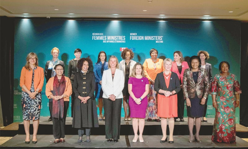 MONTREAL: Women foreign ministers from around the world pose for a picture during their meeting Canada on Saturday.—AFP