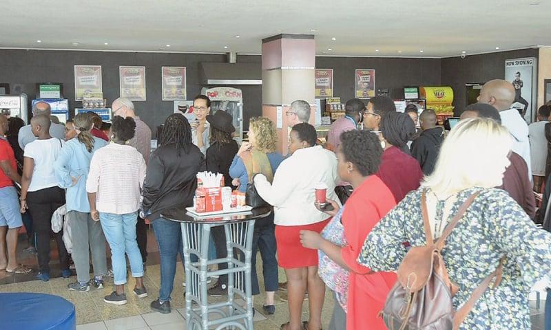 Nairobi (Kenya): Moviegoers wait in line to watch Rafiki on Sunday.—AFP