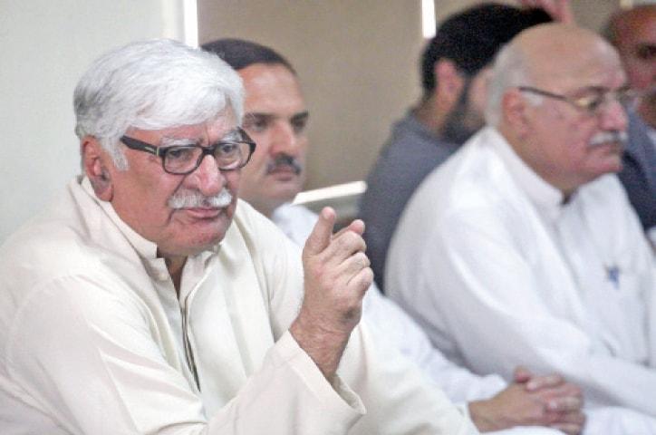 Asfandyar Wali addresses a presser in Peshawar on Monday. — White Star
