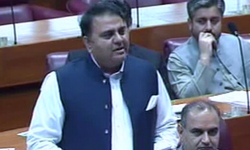 Information minister Fawad Chaudhry adresses Parliament. — Screengrab