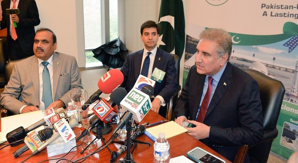 FM Qureshi engages with the Pak-American community at an interactive session held at the Pakistani embassy in Washington DC.