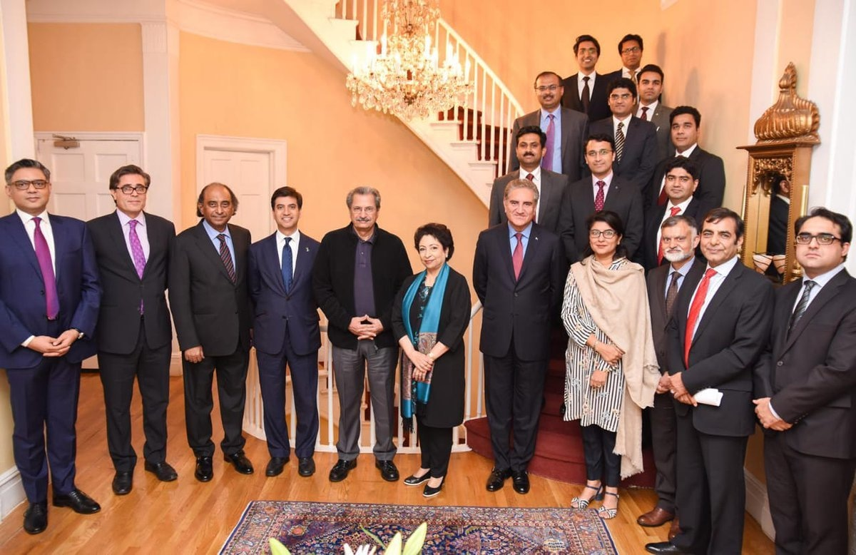 Pakistan's Ambassador to the US Ali Jahangir Siddiqui and Pakistan's Permanent Representative to the United Nations Maleeha Lodhi both welcome FM Qureshi as he reaches New York.