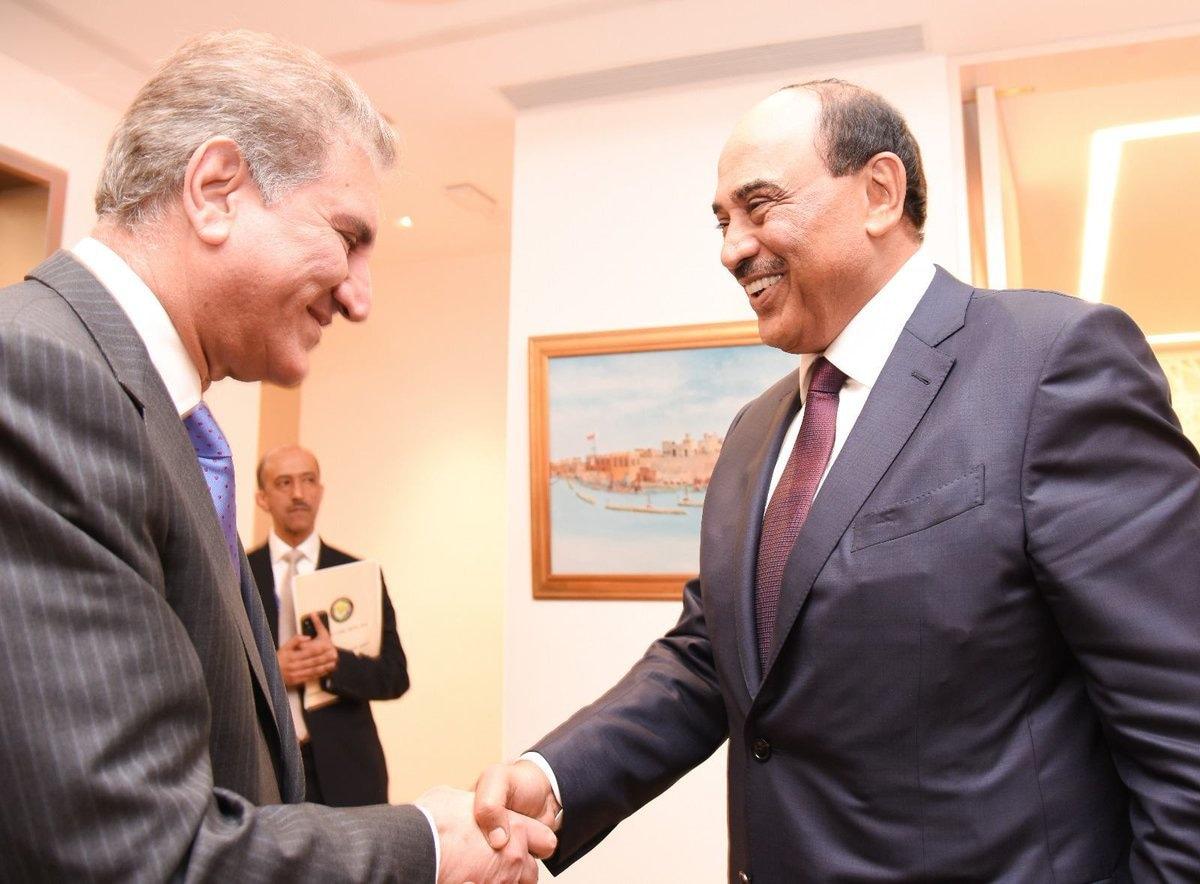 FM Qureshi meets Kuwaiti Foreign Minister Sheikh Saba Khaled al-Sabah.