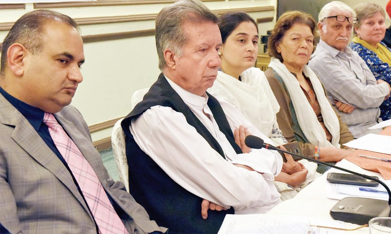 (L-R) MNA Ramesh Kumar, former senator Afrasiab Khattak, HRCP's Nasreen Azhar, Farhatullah Babar and Bushra Gohar at the inaugural meeting of the National Interfaith Working on Tuesday. — Photo by Tanveer Shahzad
