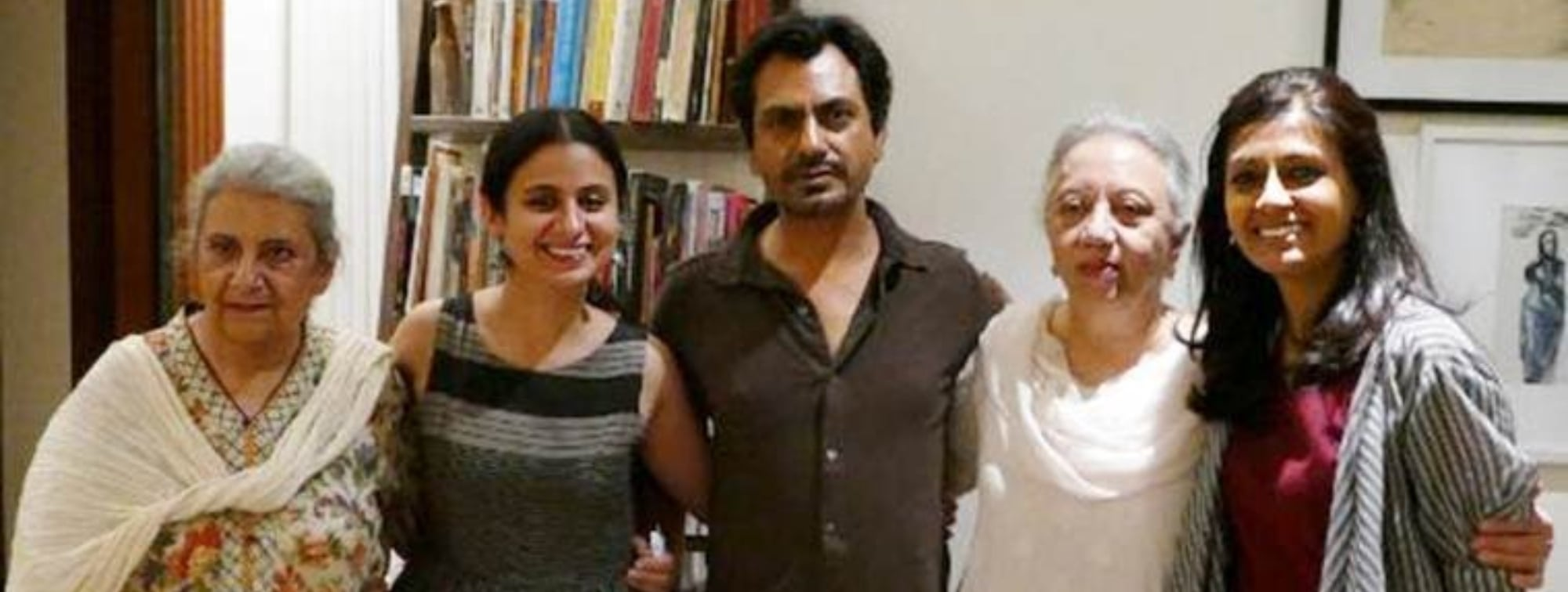 Manto's daughters Nuzhat Arshad and Nusrat Jalal with director Nandita Das and actors Nawazuddin Siddiqui and Rasik Dugal who play their parents