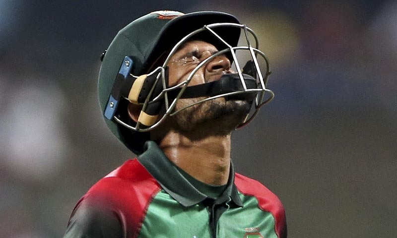 Mushfiqur Rahim reacts as he leaves the field after being dismissed — AP