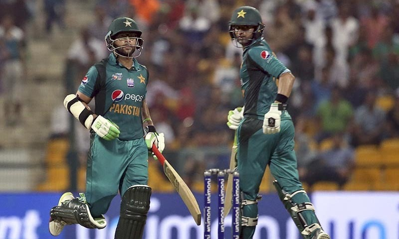Imam-ul-Haq, left, and Shoaib Malik run between the wickets — AP