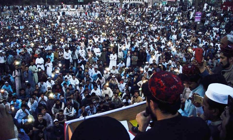 This file photo shows a PTM rally in Lahore in April 2018.