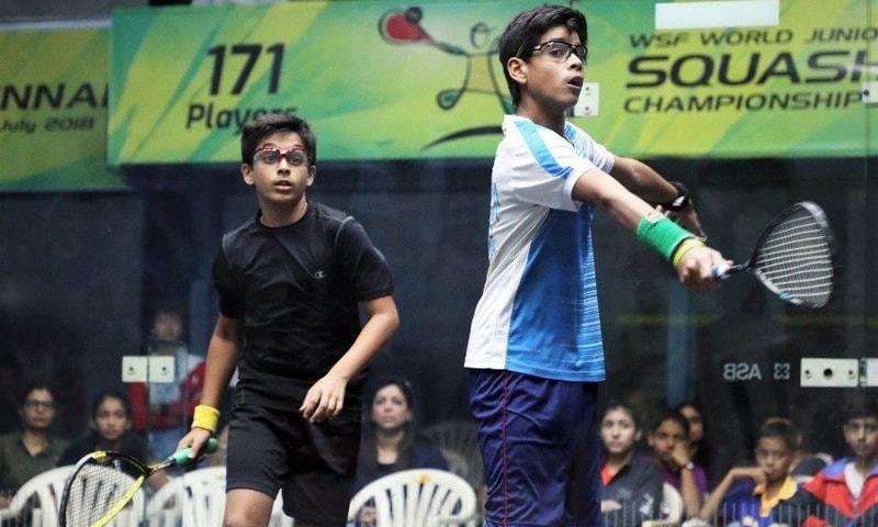 Anas Ali Shah (R) won a silver medal after losing to India's Yuvraj Wadhwani. — Photo courtesy: India Squash Twitter account