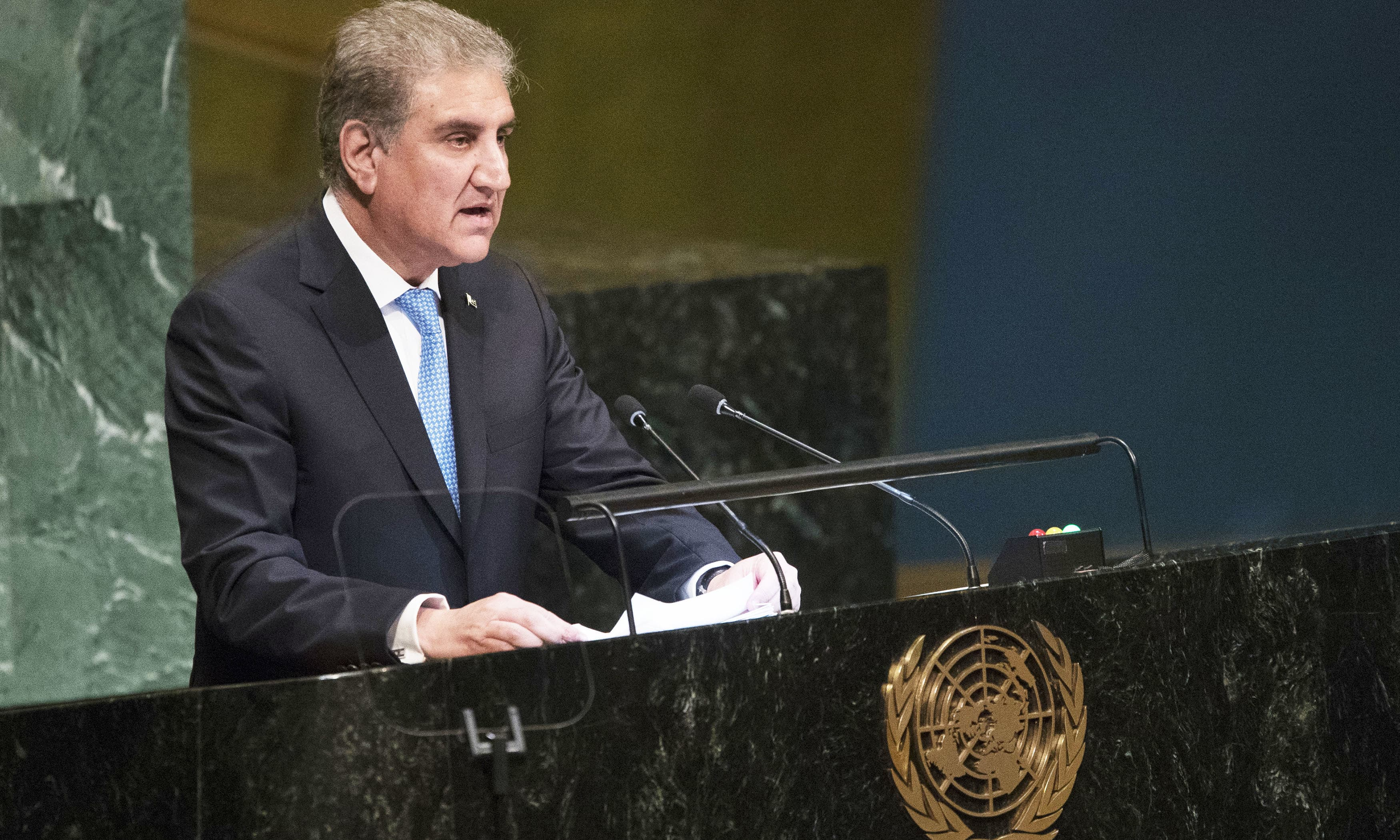 Foreign Minister Shah Mahmood Qureshi addresses the 73rd session of the United Nations General Assembly UN headquarters. —AP