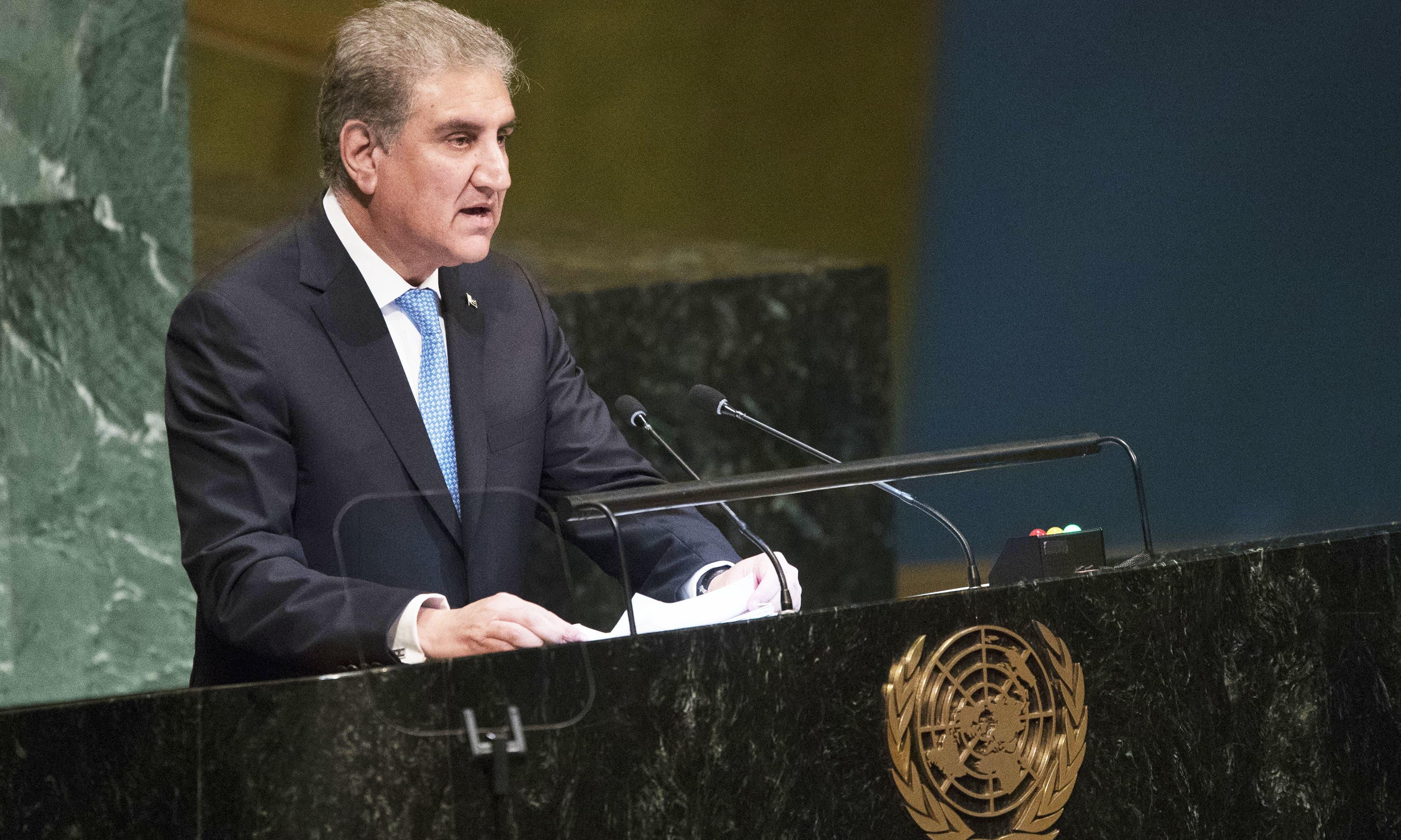 India sponsors terrorism in Pakistan, avoids peace talks on flimsy grounds: FM Qureshi tells UNGA