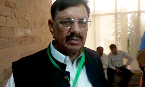 Malik Karamat Khokhar at the Supreme Court on Monday. — DawnNewsTV