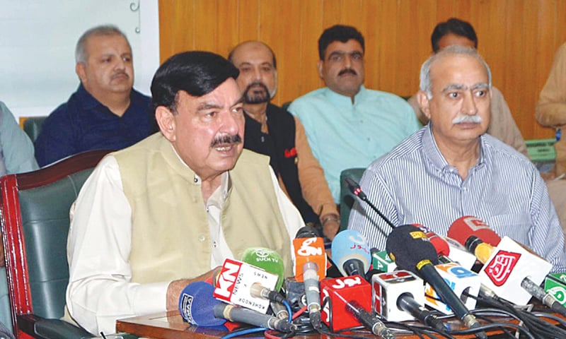 FEDERAL Minister for Railways Sheikh Rashid addresses a press conference on Monday.—PPI