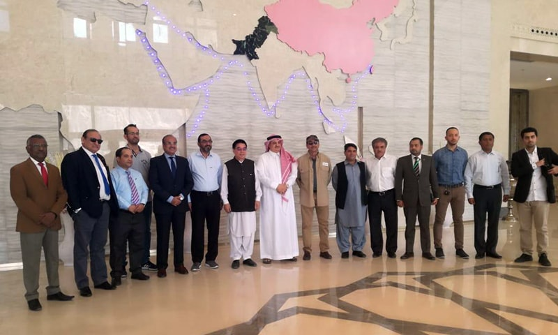 Members of Saudi delegation photographed with govt officials in Gwadar. — Photo: press release